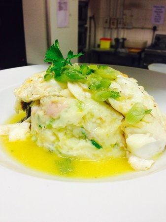 The Buck Inn: Poached cod fillet on bed of colcannon with a lemon butter sauce