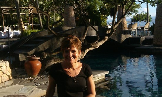 Sheraton Senggigi Beach Resort: Me by the pool and poolside restaurant