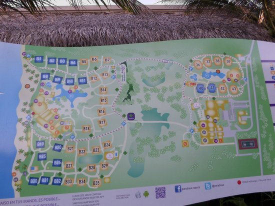 Paradisus Punta Cana: Map of property.  Blue boxes are Royal Service.