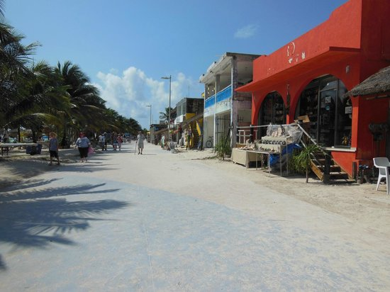 Mahahual Beach: Shopping areas on the right with beaches on the left.