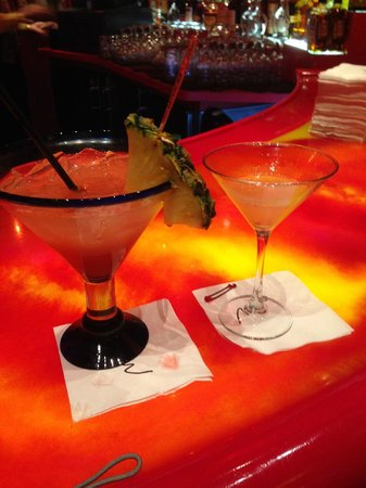 Samba Steakhouse : The Brazilian Punch on the left. The glass on the right is a regular Martini glass.