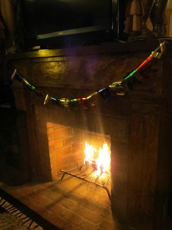 House of 1833: Our room's fireplace, with 'happy anniversary' banner