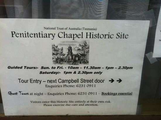 The Tench (Penitentiary Chapel Historic Site): Penitentiary sign