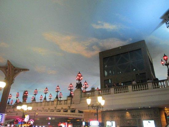 Eiffel Tower Experience at Paris Las Vegas: Paris hotel bridge to the Eiffel tower elevator