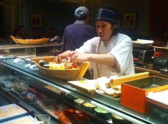 Sachi Sushi: Beautiful sushi assortment in wooden boats.