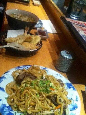 Sachi Sushi : Udon stir fry dish in foreground - delicious.