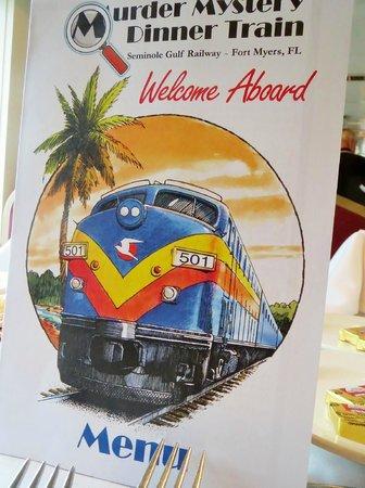 Seminole Gulf Railway Murder Mystery Dinner Train : Menue
