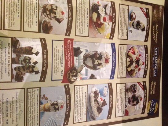 Ghirardelli Ice Cream & Chocolate Shop: Pick up a menu on your way in