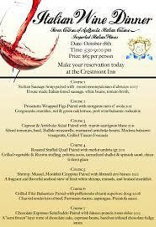 Crestmont Inn: monthly wine dinners