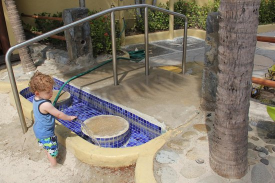 Villa del Sol Resort: Son earning his keep at the foot cleaning pool.