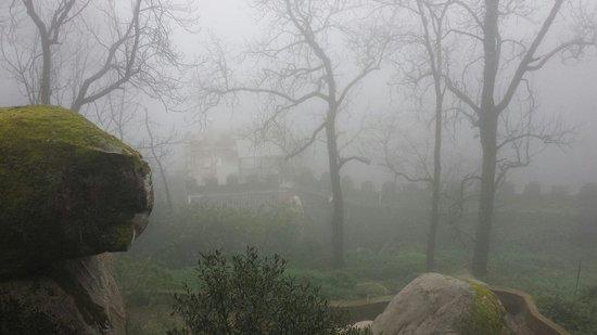 Castle of the Moors : Castelo Mouros na neblina. Forte emoção por causa do vento forte!