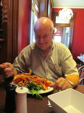 Kitchen at Treasury: Brian with his lobster