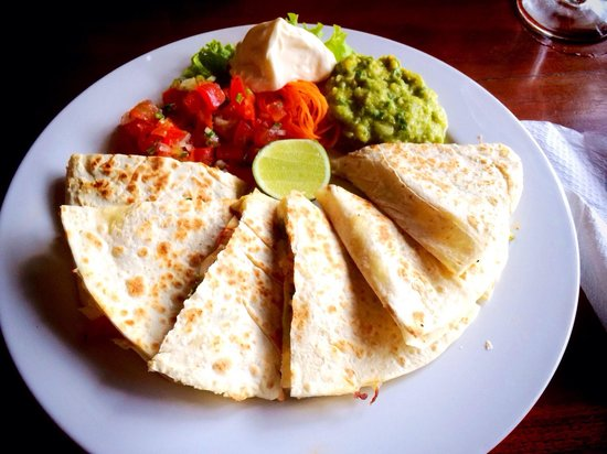 Veggie Quesadilla at Taco Casa. Loaded with tasty veggies and mozz cheese.