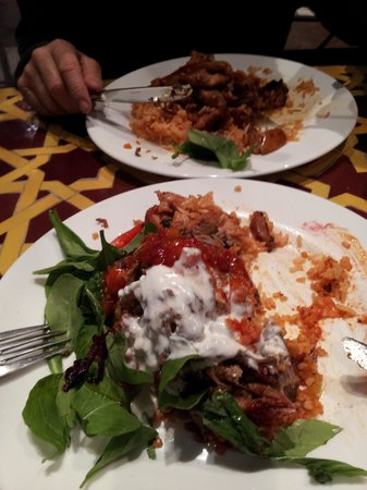 Casablanca Meditteranean Cafe and Bar : Black chicken at rear, Upsidedown Lamb Pilaf in front