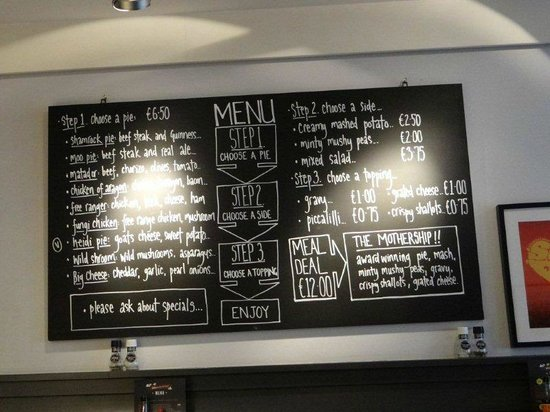 Pieminister : the menu board with prices