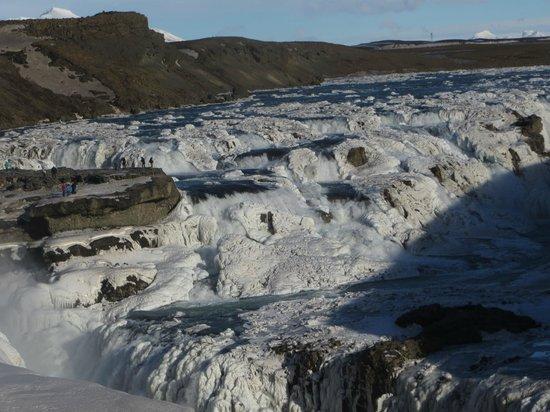 Iceland Horizon: Gullfoss Frozen waterfalls - ICY cold and windy - but wonderful.