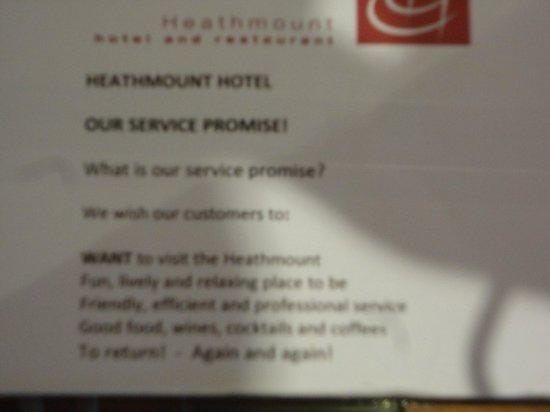 هيثمونت: The Heathmount Hotel |Service Promise