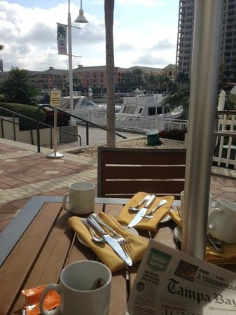 Tampa Marriott Waterside Hotel & Marina: View from brunch on the patio