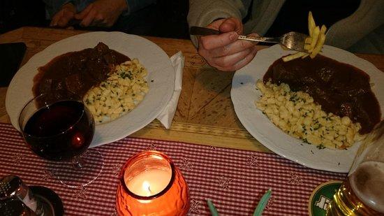 Beef Gulasch with Spätzle - Bild från Restaurant Fuhrmannstube, St ...
