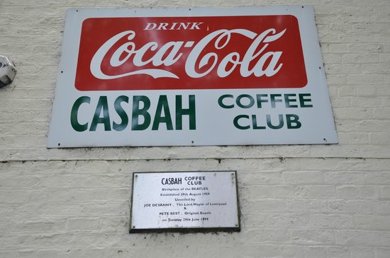 Liverpool Beatles Tours : Early Rock n Roll era sign on the Casbah exterior