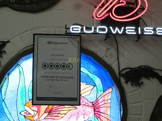 Joe's Oyster Bar: TA certificate of excellence 2012