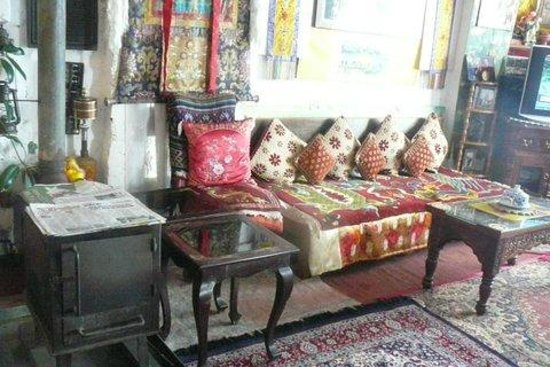 Snow Lion HomeStay: Wood stove near sitting & eating areas - lots of colors & textures