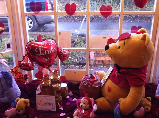 Pooh Corner: St Valentine's window. Cute but some items were quite dusty.