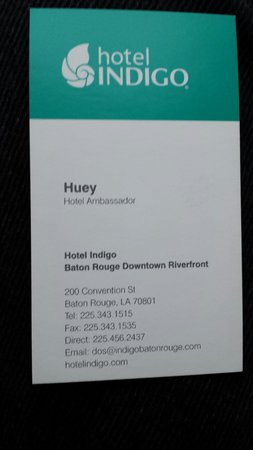 Hueys Business Card Front Picture Of Hotel Indigo Baton Rouge