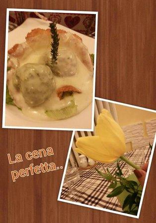 La Cucina Del Poz: i canederli speck e spinaci con crema di foraggi d'alpeggio del cestino di grana padano