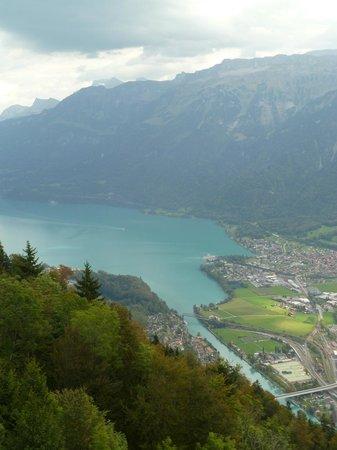 Views of lake Brienz from balcony on Harder Kulm