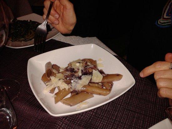 Un Filo d'Olio : penne all'aglianico, radicchio e scaglie di parmigiano
