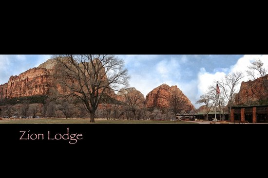 Zion Lodge: pano of of the lodge and quad