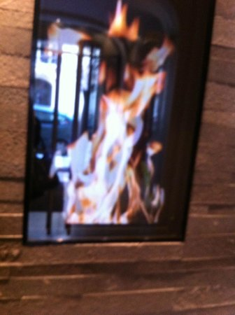 "Hotel Sezz Paris: ""fireplace"" on monitor as you walk into hotel"