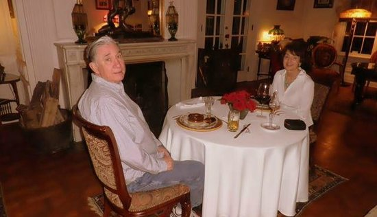 Melange Bed and Breakfast: our anniversary dinner by the fireplace