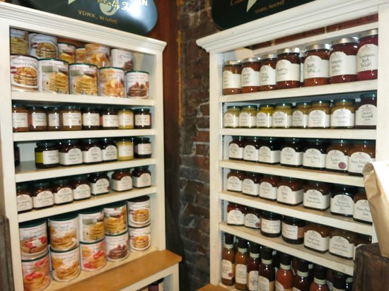 The Peanut Shop: Display case.  Pancake mix, jams, mustard, etc.