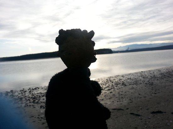 Huber's Inn Port Townsend: Beach sculpture.