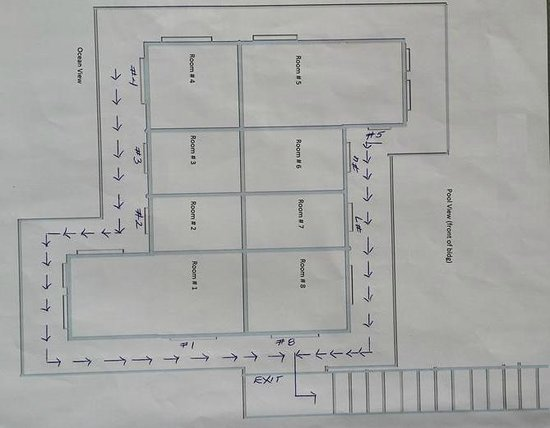 Almond Tree Hotel Resort : Room layout. All are on second floor.