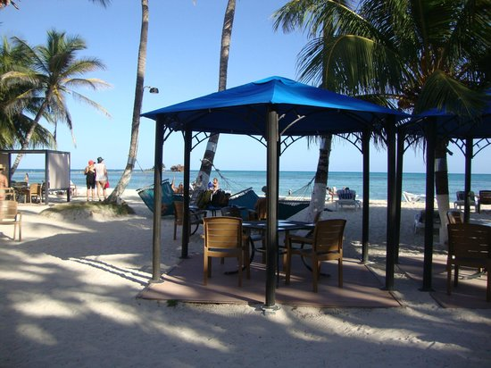 Cocoplum Beach Hotel: Mesas del restaurant y bar frente al mar