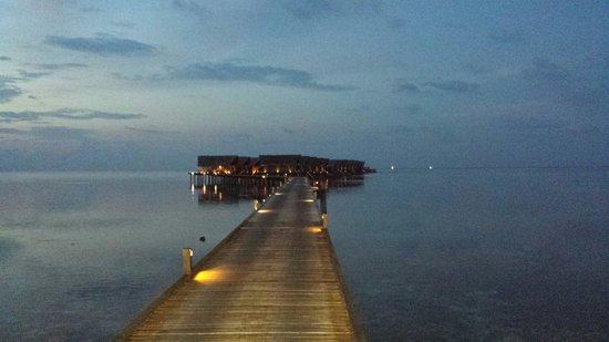 Adaaran Prestige Ocean Villas: Route to the Ocean Villa at Sunset.