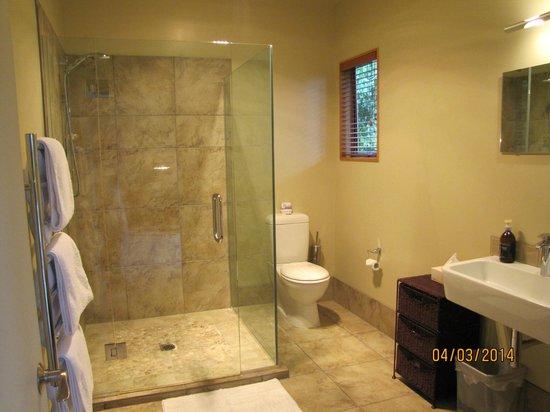 Glendeer Lodge: Courtyard Room Bathroom with large shower