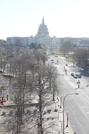 Newseum: View of the Capital Building from the Terrace.