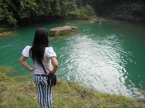 Inambacan Falls: Lorna Hibaya gazing at the green water