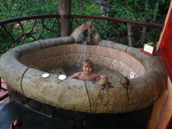 Peace Lodge: outdoor hot tub