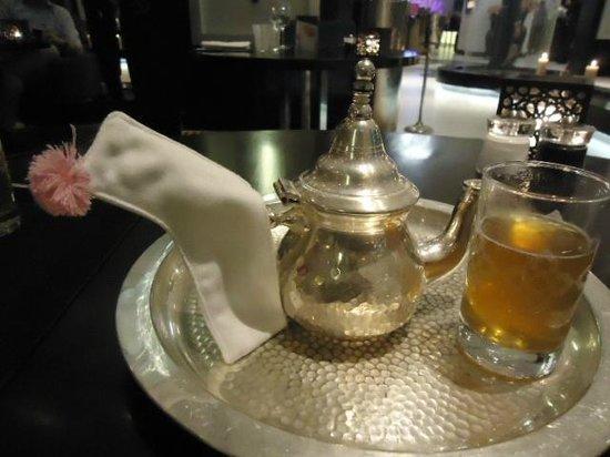 Sofitel Casablanca Tour Blanche: Mint tea, love the pink pon pon on the holder warmer,