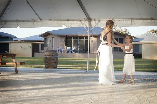 Tindarra Resort: On the dancefloor... the brides cabin in background