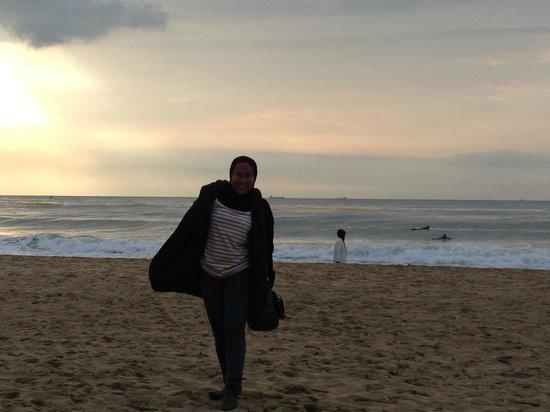 Sesaat setelah matahari terbit di Haeundae Beach