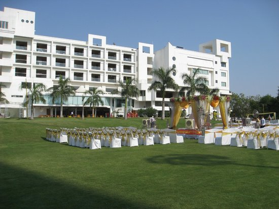 Seasons Hotel  - Rajkot: Rear View of Hotel from Grounds - Wedding setup