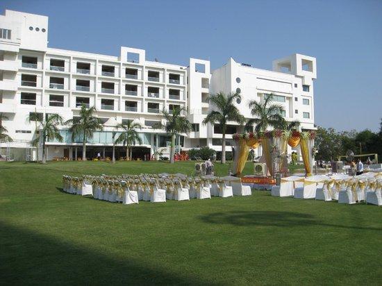 Seasons Hotel  - Rajkot : Rear View of Hotel from Grounds - Wedding setup