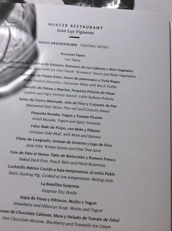 Mercer Hotel Barcelona: the tasting menu