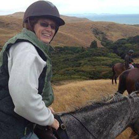 Wildcoast Ruapuke Horse Riding: Jan on Blue